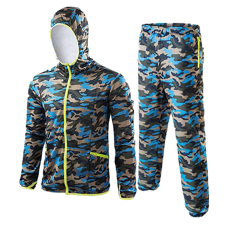 2018 Camo blue Outdoor fishing clothes set breathable quick dry Anti Sai UV Anti mosquit long sleeve hooded fishing Shirts 6XL M