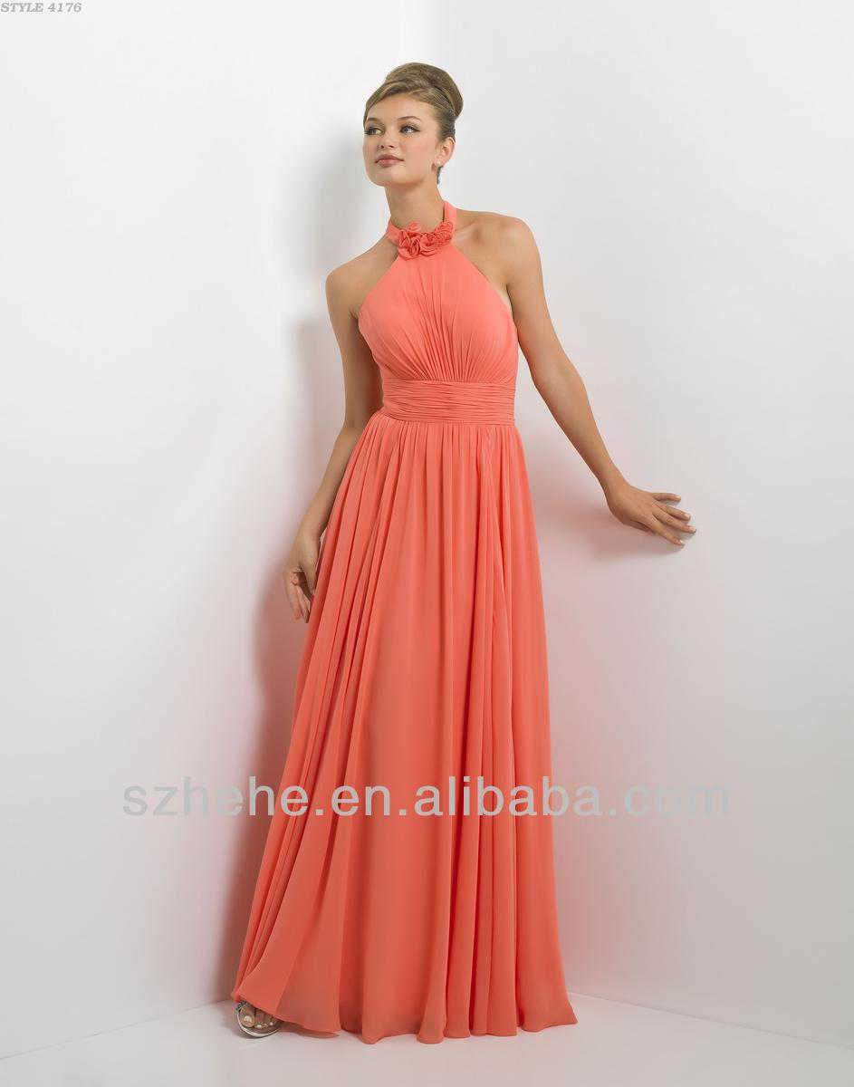Cy1277 Lovely Halter A Line Chiffon Peach Color Bridesmaid Dress 2017 In Dresses From Weddings Events On Aliexpress Alibaba Group