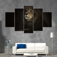 5 Panels Canvas Art Framed Modular pictures painting printed on the wall art room decor lion king Animal Picture for Living Room