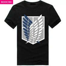 BOOCRE Summer Japanese Anime Attack On Titan T Shirt Tops Fluorescent T Shirt Short Sleeve Cartoon Glow In Dark Hip Hop T-shirt