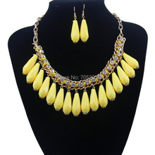 Fashion European Bohemian Drop Choker Statement Necklaces & Earring Sets