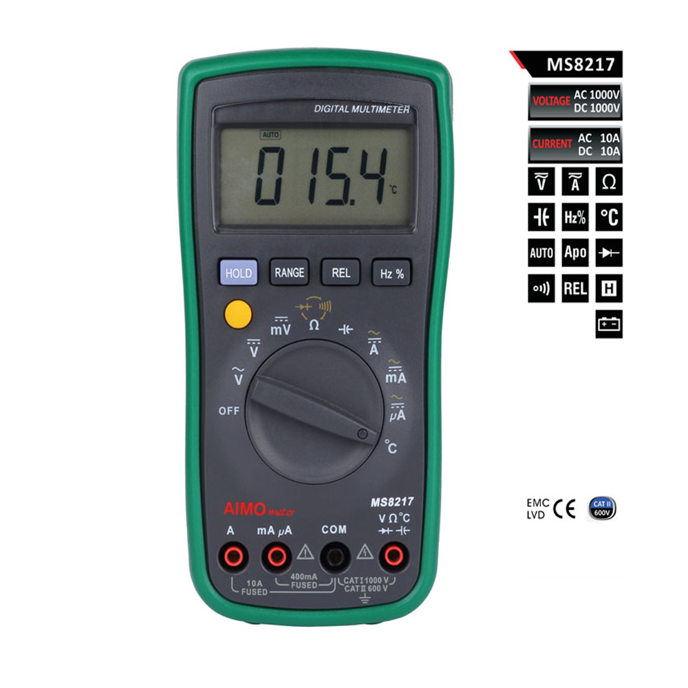 Aimometer MS8217 AC DC Auto Ranging Digital Multimeter Temperature Frequency Duty Cycle Mesurement mastech ms8217 portable digital multimeter auto ranging ac dc voltage dmm rel frequency