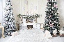 Decorações de árvores de parede imagem sala de lareira Fundos Vinil pano de Alta qualidade de impressão Computador pano de fundo de natal