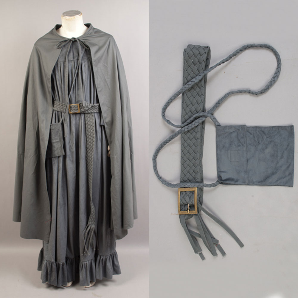 The Lord of the Rings Gandalf the Gray/Grey Costume Cosplay Cape Cloak Robe Belt