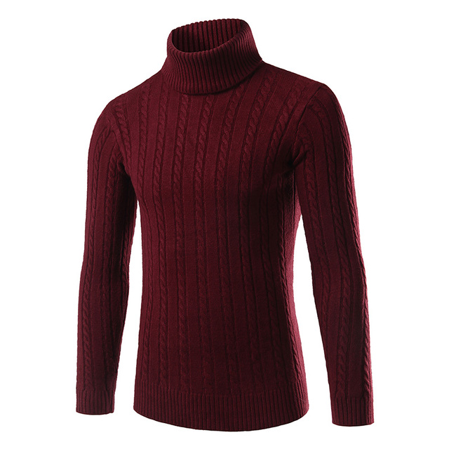 2016 Fashion Classic Solid Color Turtleneck Sweater Men Winter Warm Pullover Men Slim Fit Sweaters