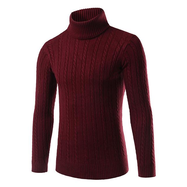 2016 Moda Clássica Cor Sólida Camisola de Gola Alta Homens Inverno Quente Homens Pullover Blusas Slim Fit