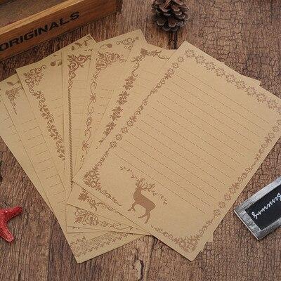 8pcs/lot Vintage Retro White Black Kraft Letter Paper Set Stationery Letter Pad For School Office