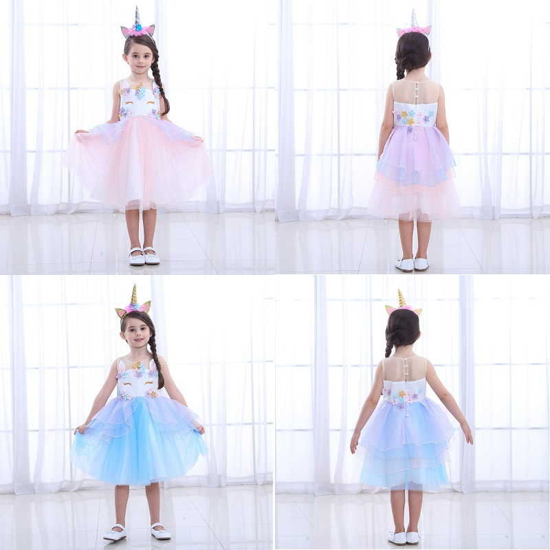 3-12Y Girls Rainbow Unicorn Tutu Tulle Dress with Hair Hoop Girls Party Dress Children Kids Halloween Cosplay Unicorn Costume