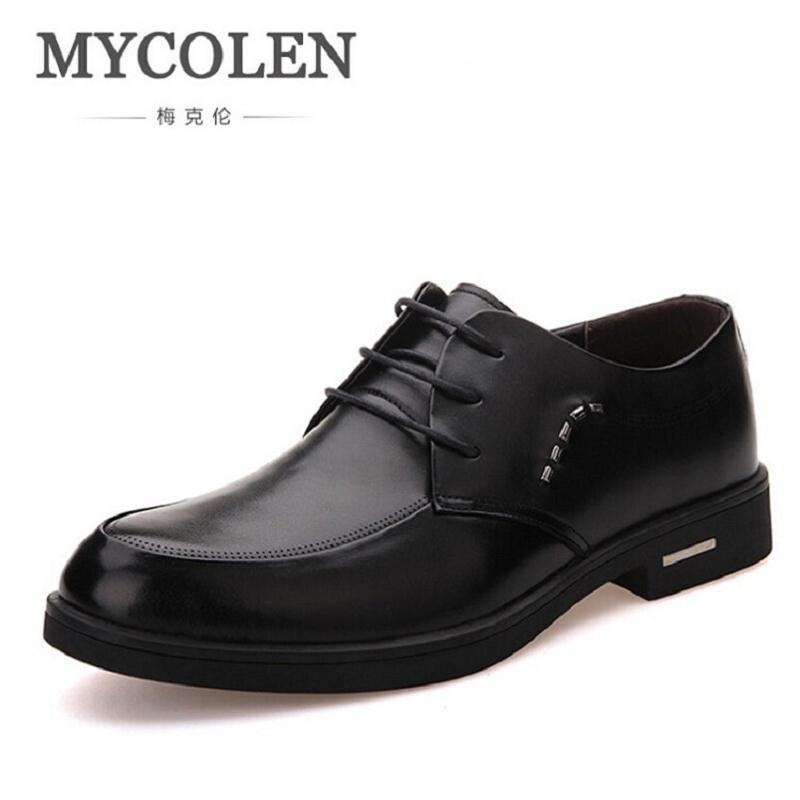 MYCOLEN Men Flats Black Leather Formal Shoe For Man Business Dress Shoes Round Toe Vintage Italian Mens Oxfords Sapatenis top quality crocodile grain black oxfords mens dress shoes genuine leather business shoes mens formal wedding shoes