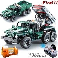 Пульт дистанционного управления ракета запуска грузовик 2в1 военный 1369 шт с мотором 1:20 макеты зданий блоки кирпичи INGly военные игрушки