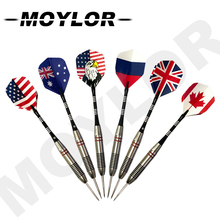 6pcs/Set Professional National Flag Pattern Needle Tip Darts with Dart Sports Hard 25g Tungsten Steel Tips A