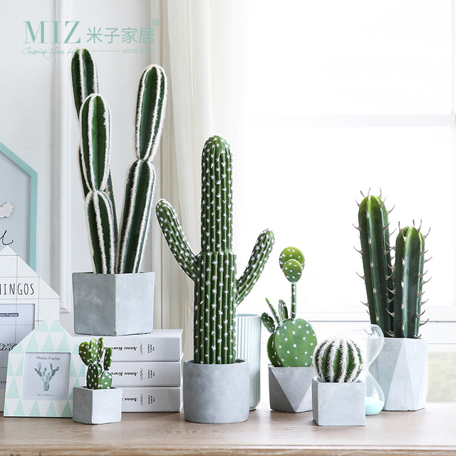 miz 1 piece artificial potted cactus super real artificial plant for home decoration multi style. Black Bedroom Furniture Sets. Home Design Ideas