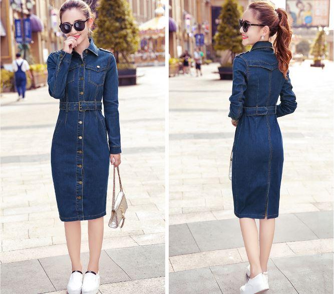 5XL 4XL Maxi Jeans Pencil Dress 2018 Women Denim Long Vestidos One-piece Cowboy Dress With Belt Women Blue Cotton Clothing S10