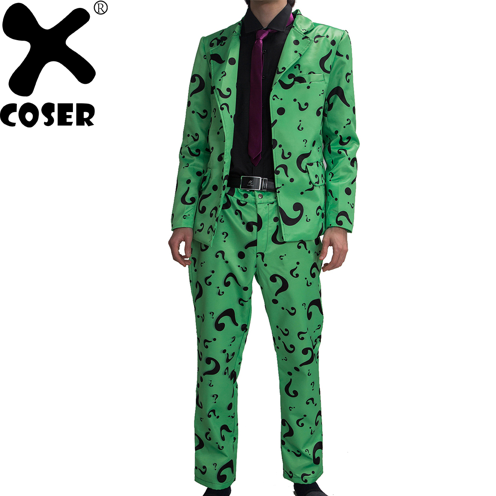XCOSER Xcoser Riddler Costume Suit Adult Mens Question Mark Pattern Suits Batman Cosplay Outfit Halloween Party Dress Adult Hot