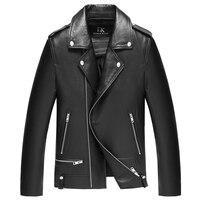 Моторный Байкер, качественная натуральная кожаная одежда из овчины, классное мужское черное пальто из натуральной кожи, Весенняя мотоцикле