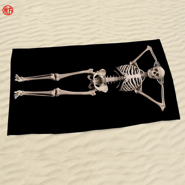 2017 beach towel black human skull microfiber fabric 70140cm bath towel donuts halloween gift - Halloween Bath Towels