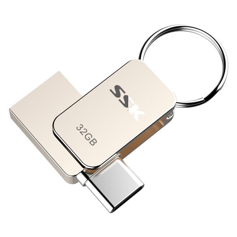 SSK SFD270 16GB 32GB 64G USB-C Type-C OTG USB 3.0 Flash Drive Pen Drive Smart Phone Memory MINI Usb Stick dm pd059 usb flash drive usb 3 0 16gb 32gb 64g usb c type c otg pen drive smart phone memory mini usb stick for andorid xiaomi