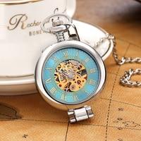Vintage Pocket Watch Mechanical Classic Antique Style Roman Chain Clock Hollow Mechanical Watch Women Men Necklace Silver