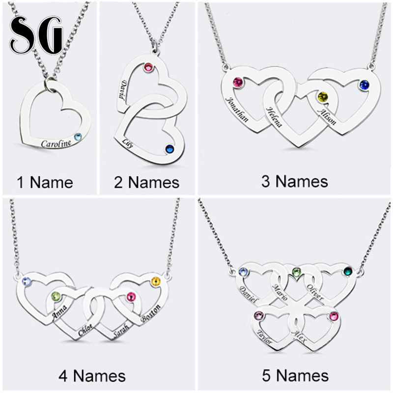 Hot 925 Silver personalized Family Necklace Custom Engraved Name Intertwined Hearts Necklace Birthstone Pendant Necklaces
