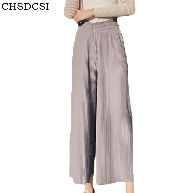 CHSDCSI 2018 New Women's   Pants   Women Spring Summer Loose Pleated Stretchy Waist   Wide     Leg     Pants   Autumn High Waist   Wide     Leg     Pants