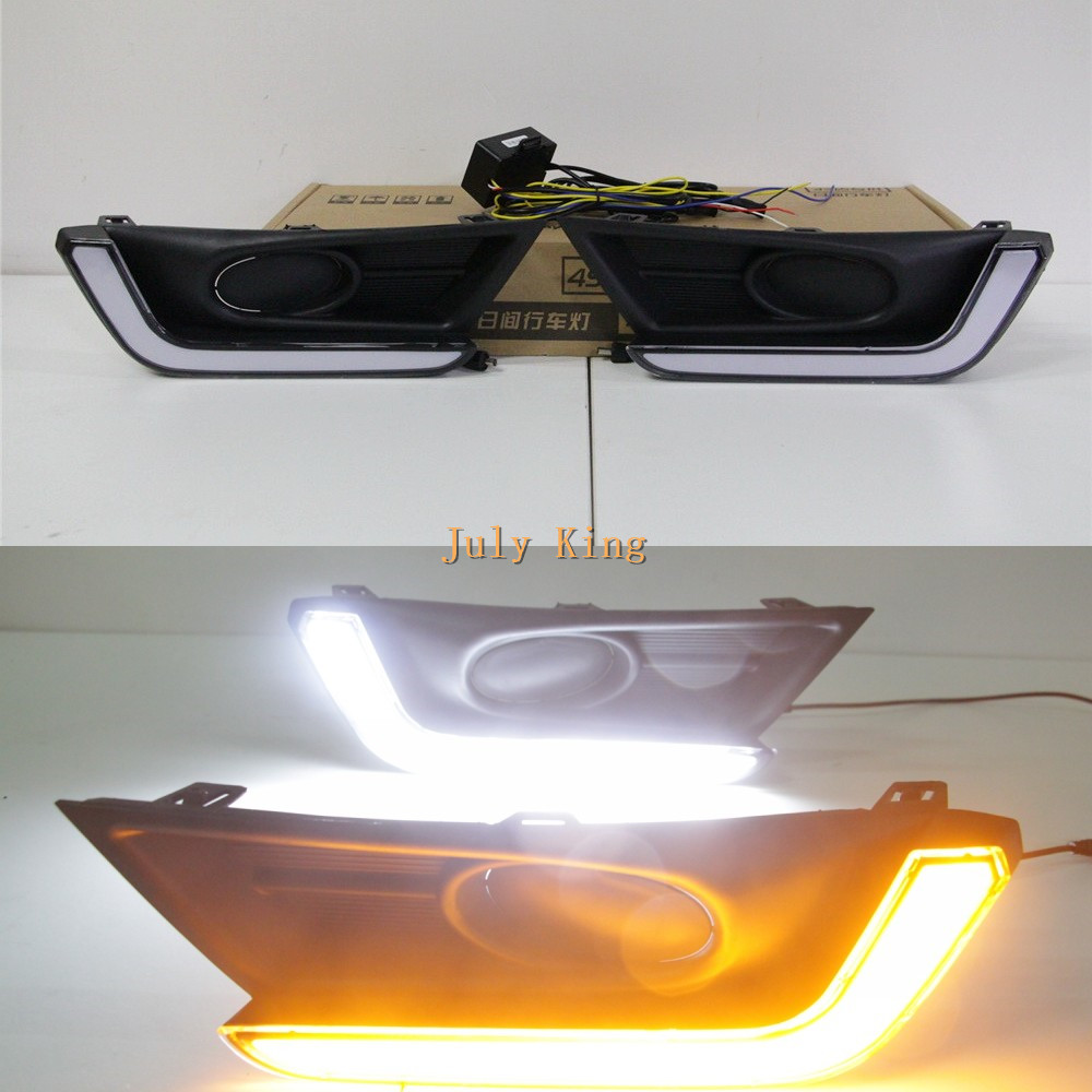 July King LED Light Guide Daytime Running Lights Case For Honda CRV CR-V 2017+ Low Fog Lamp Version, DRL + Yellow Turn Signals july king led daytime running lights drl led fog lamp case for bmw 3 series e90 2006 2008 with yellow turn signal light