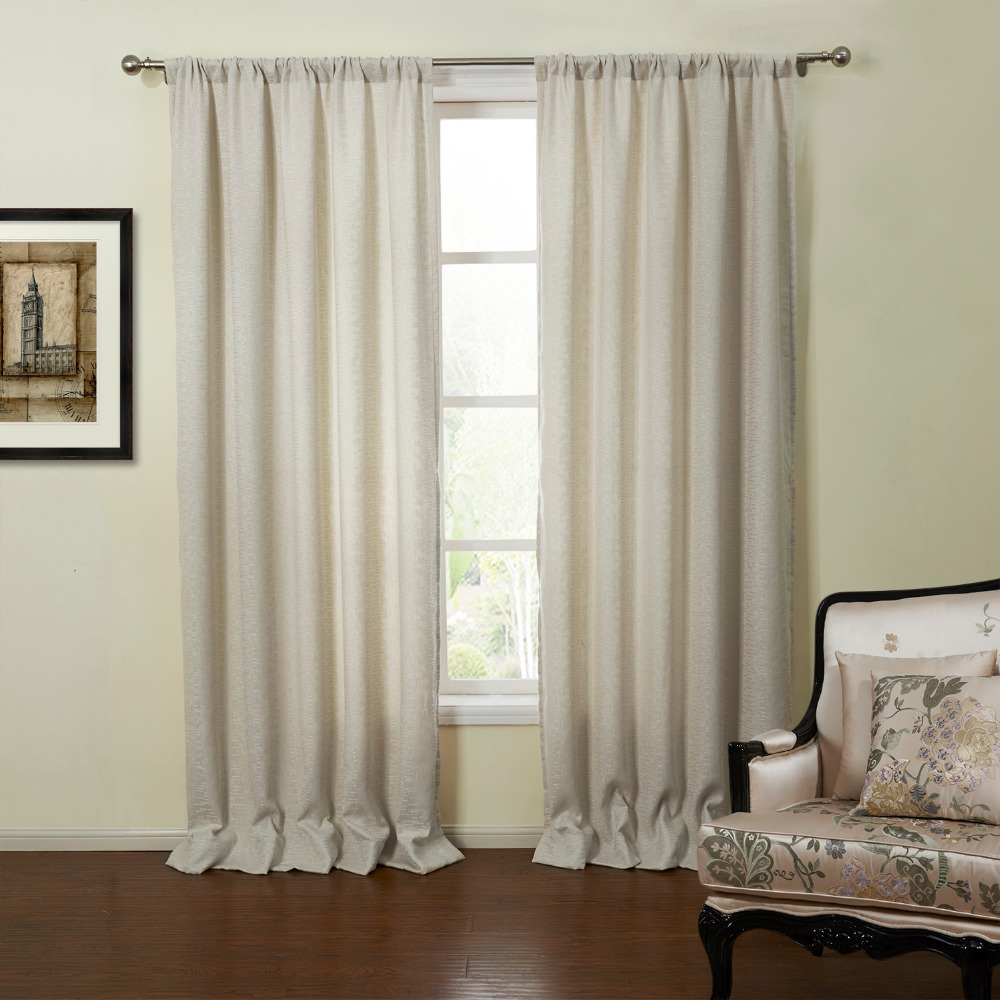 Off White Curtains Living Room Rod Pocket Neoclassical Off White Solid Eco Friendly Lined Curtain