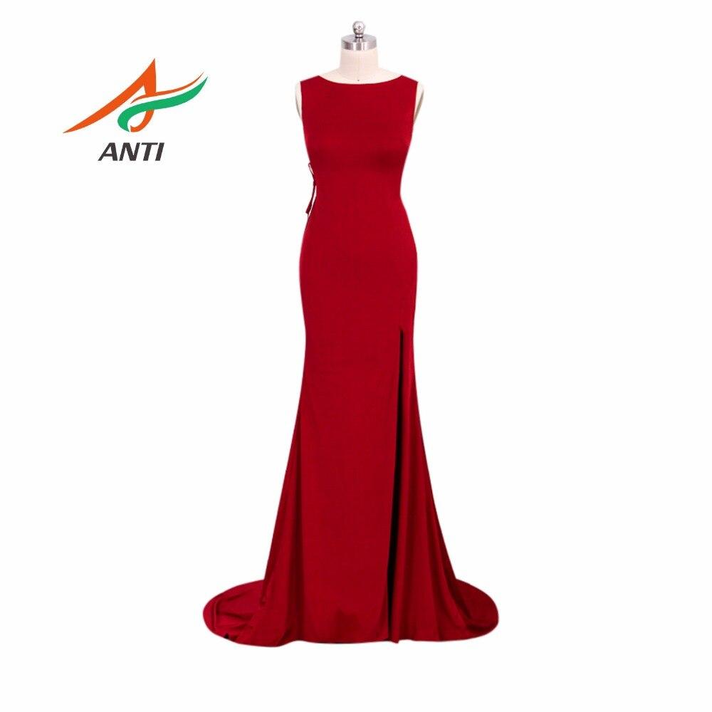 ANTI Vestido De Festa Beautiful Sexy Open Back Luxury Evening Gowns Comfortable Vintage Long Red Mermaid Evening Dresses 2018