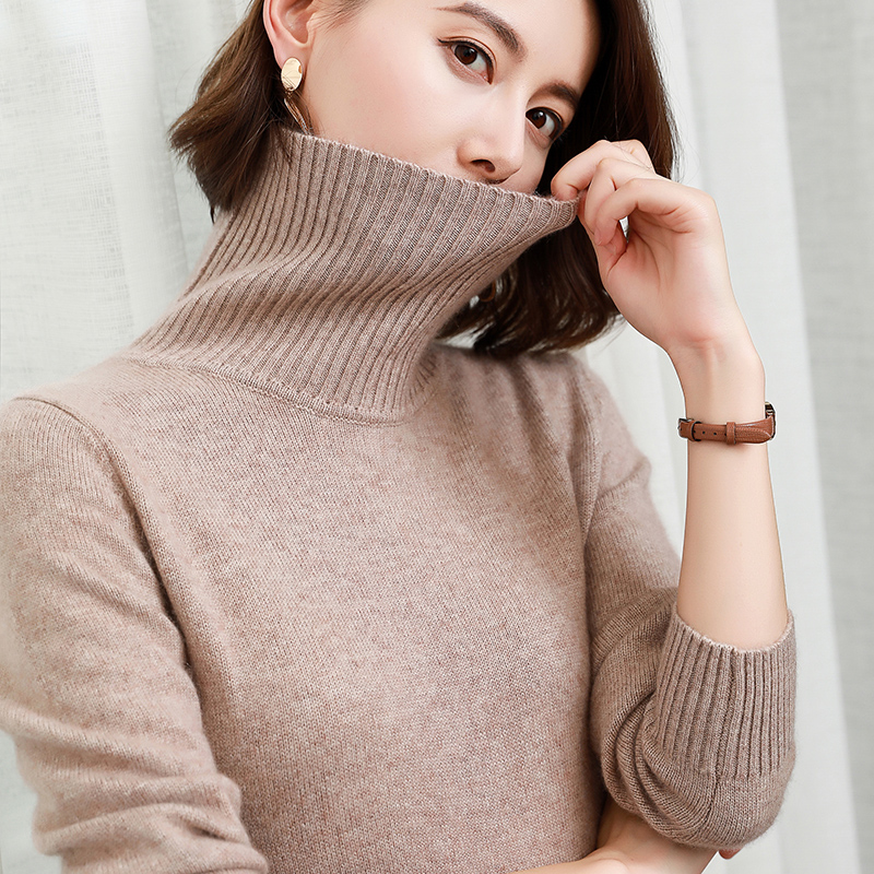 Winter Sweater Women Pullovers 100% Pashmina Knitting Jumpers New Turtleneck Long Knitwear Pure cashmere Thick Ladies Clothes-in Pullovers from Women's Clothing    1