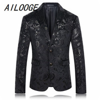 AILOOGE Gold Blazer Men Floral Casual Slim Blazers 2017 New Arrival Fashion Party Single Breasted Men