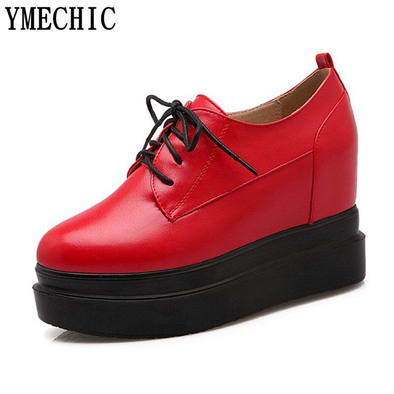 1ad1bde260 Mola Senhora De Trepadeiras vermelho Cunha Lacing Plataforma Ymechic Preto  Sapatilhas Outono Salto Moda Branco Sapatos ...