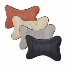 Universal Car Leather Safety Pillow Auto Headrest Breathe Hole-Digging Design Car Car