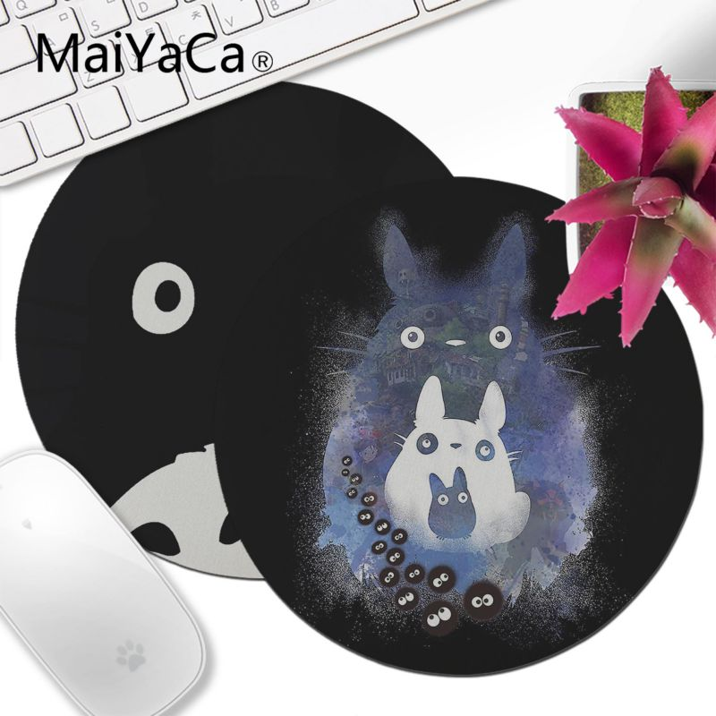 MaiYaCa Cute Totoro Wallpaper Small Round Mouse Pad PC Computer Mat Gaming Mouse Pad Rug For PC Laptop Notebook Gamer