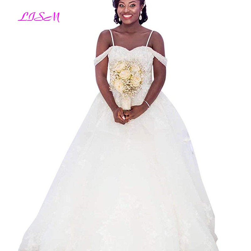 Vintage Spaghetti Straps Tulle Long Wedding Dresses Sweetheart A-Line Bridal Gowns 2019 Africa Women Custom Made robe de mariee