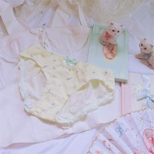 Strawberry Panties Cute Lovely Japanese Style Women Underwear Mid-Rise Bow Sexy Milk Silk Sweety Breifs