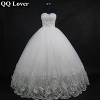 2016 High Quality Elegant Luxury White Lace Wedding Dress Vintage Bandage Plus Size Ball Gowns Free