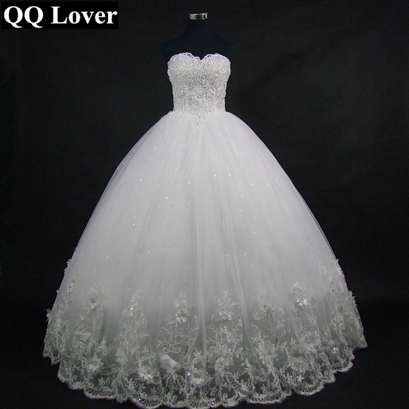 QQ Lover 2018 High Quality Elegant Luxury Lace Wedding Dress Vintage Bandage Plus Size Ball Gowns Vestido De Noiva