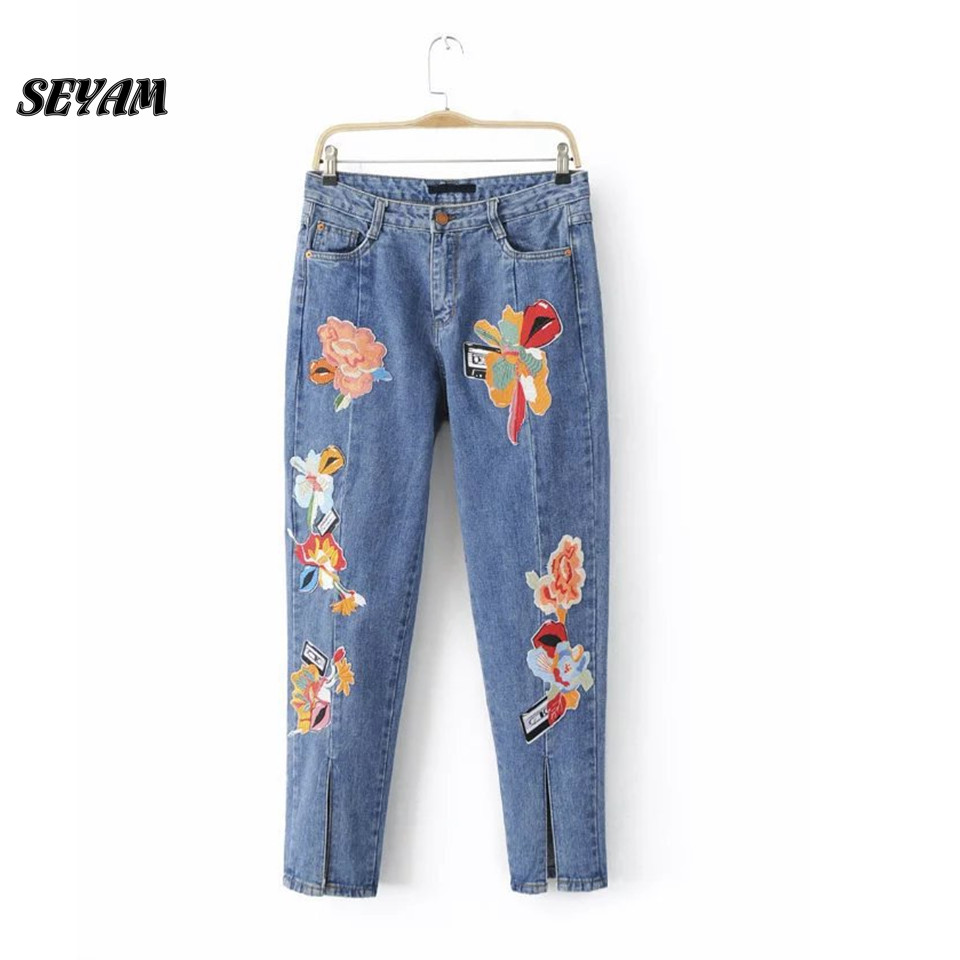 SEYAM Bordado Jeans New Floral Embroidery Women Jeans Pants Water Wash Full Length Taille Haute Femme