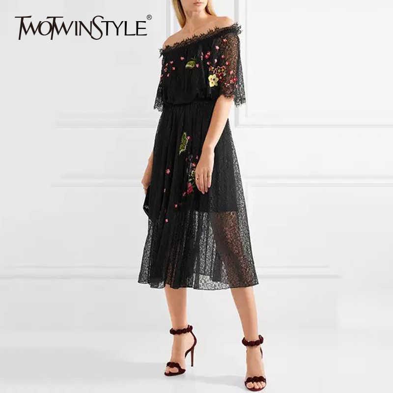 TWOTWINSTYLE, кружевное платье с принтом, для девушек, с вышивкой, с вырезом лодочкой, с открытыми плечами, туника, с высокой талией, платья миди, 2019, Весенняя мода, новинка