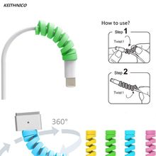 10Pcs Spiral Cable Protector Data Line Silicone Bobbin Winder Protective Tube Cable Cover for Iphone(China)