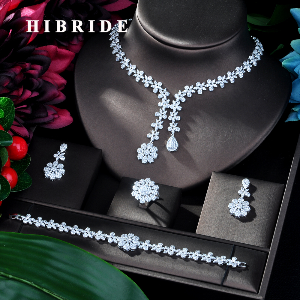 HIBRIDE 2019 New High Fashion Dubai Jewelry Set White Color Nigerian Wedding African Beads Jewelry Sets