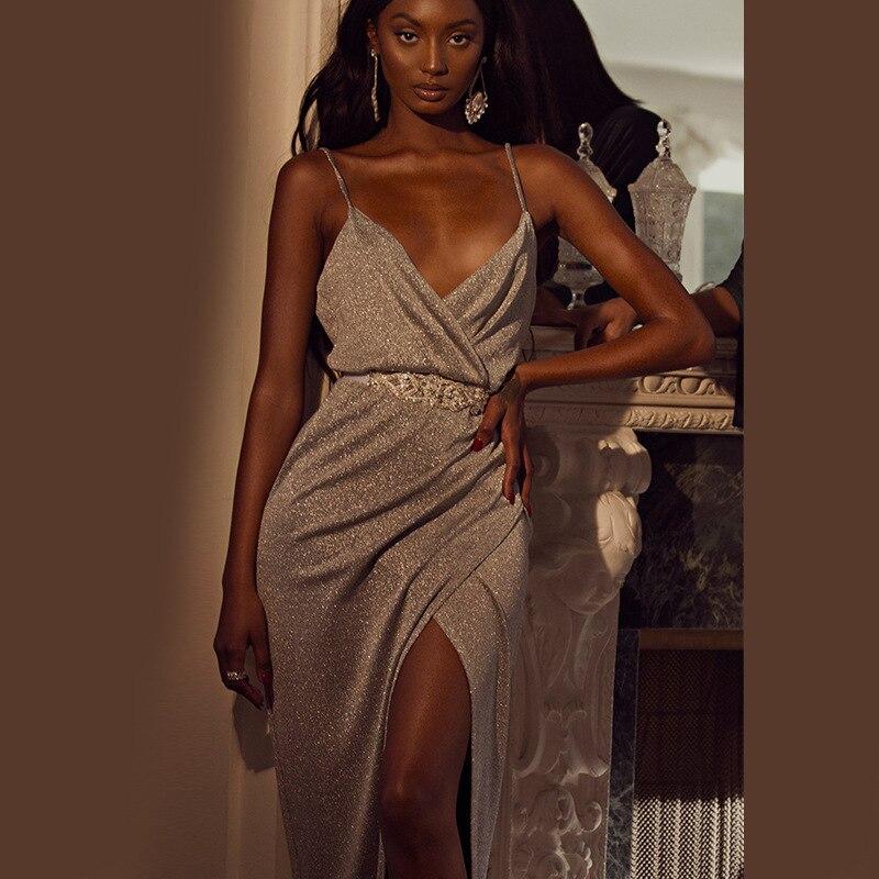 2019 Sexy Hollow Out Deep V-Neck Spaghetti Strap Asymmetrical Dresses Women Solid  Sleeveless Natural  Floor-Length Dress