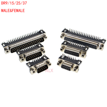 5Pcs DR9 DR15 DR25 DR37 Hole/Pin Female/Male right angle Welded d-sub Connector RS232 serial port adapter DB9 9/15/25/37 pin