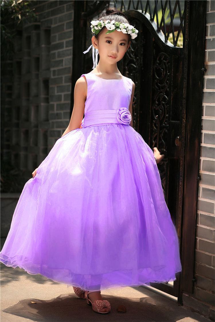 New 2018 Elegant Baby Girls Party Long Dress Sleeveless White Pink ...