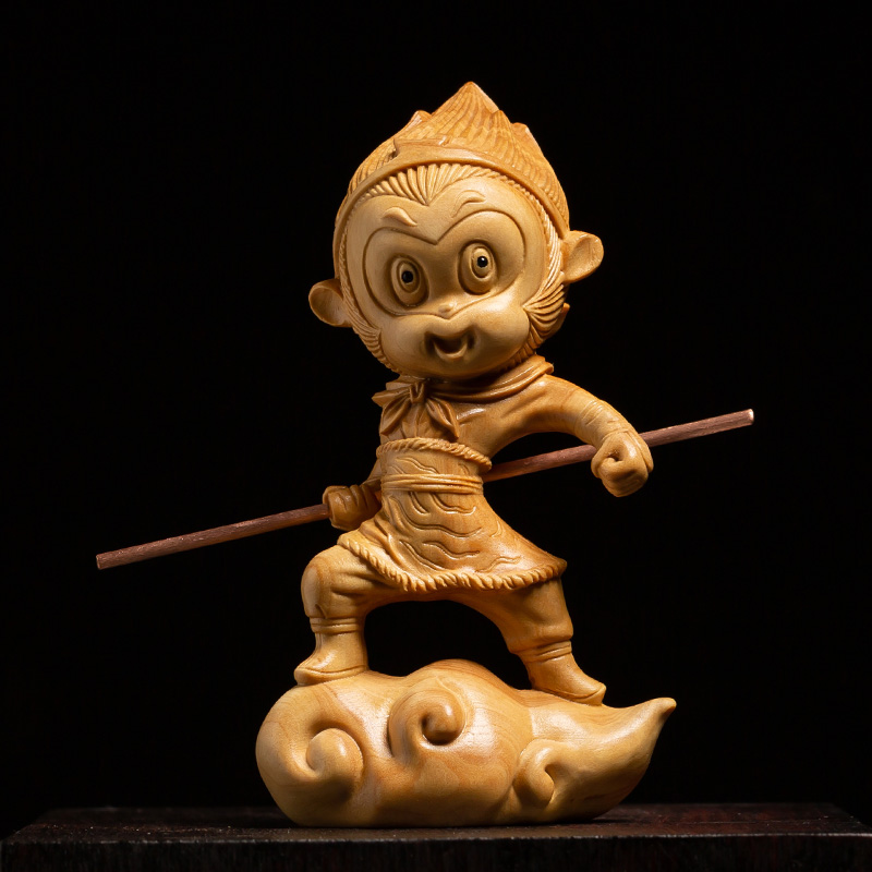 Miniature Sun wukong Somersault Cloud Monkey king Wood carving statue China doll gift carved decor Figurine