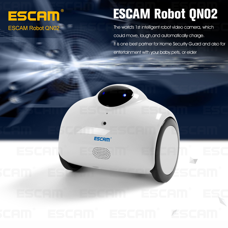 ESCAM Robot QN02 720P wireless ip camera support two way talk/Touch interaction built in Mic/speaker can move,laugh,auto charge two collaborative robot manipulators handling a flexible object