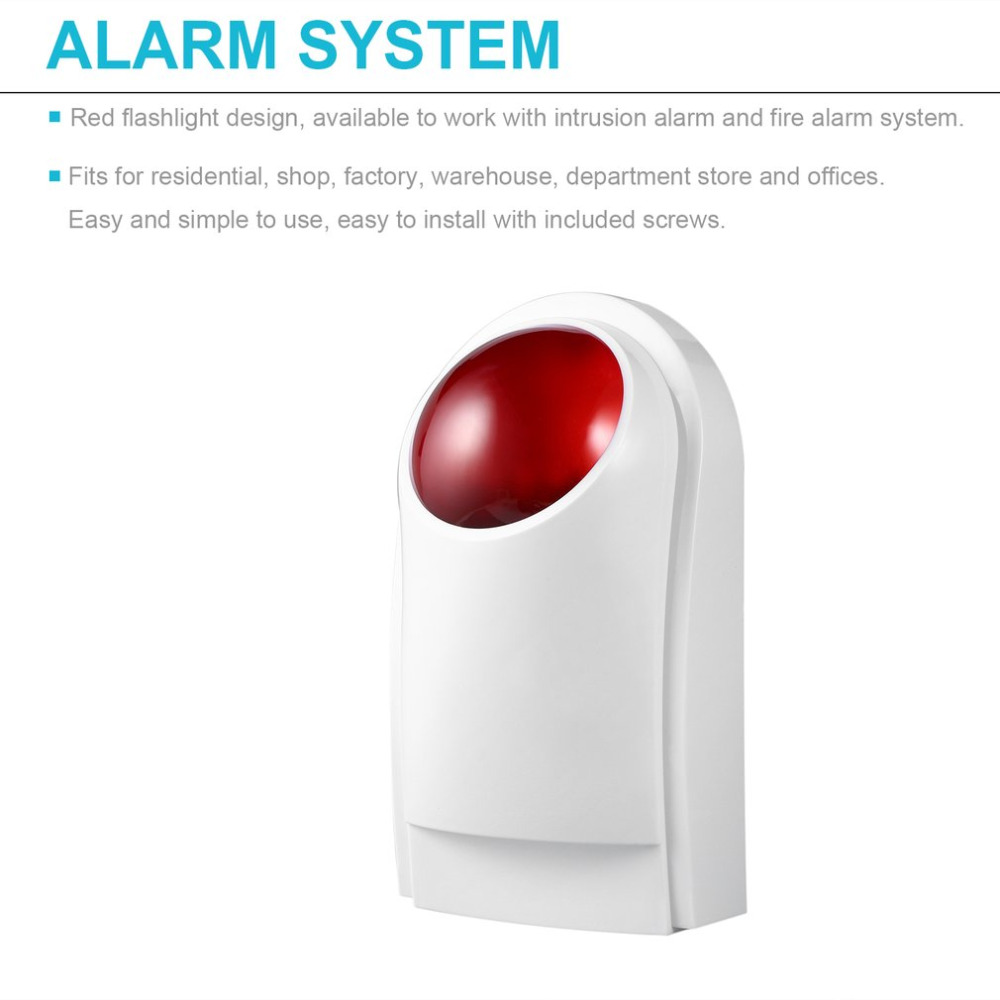 Outdoor Waterproof Wired Home Security Sound Light Strobe Siren Red Flashlight Horn Safety & Fire Alarm System CW32 ms 490 ac 110v 220v 150db motor driven air raid siren metal horn double industry boat alarm