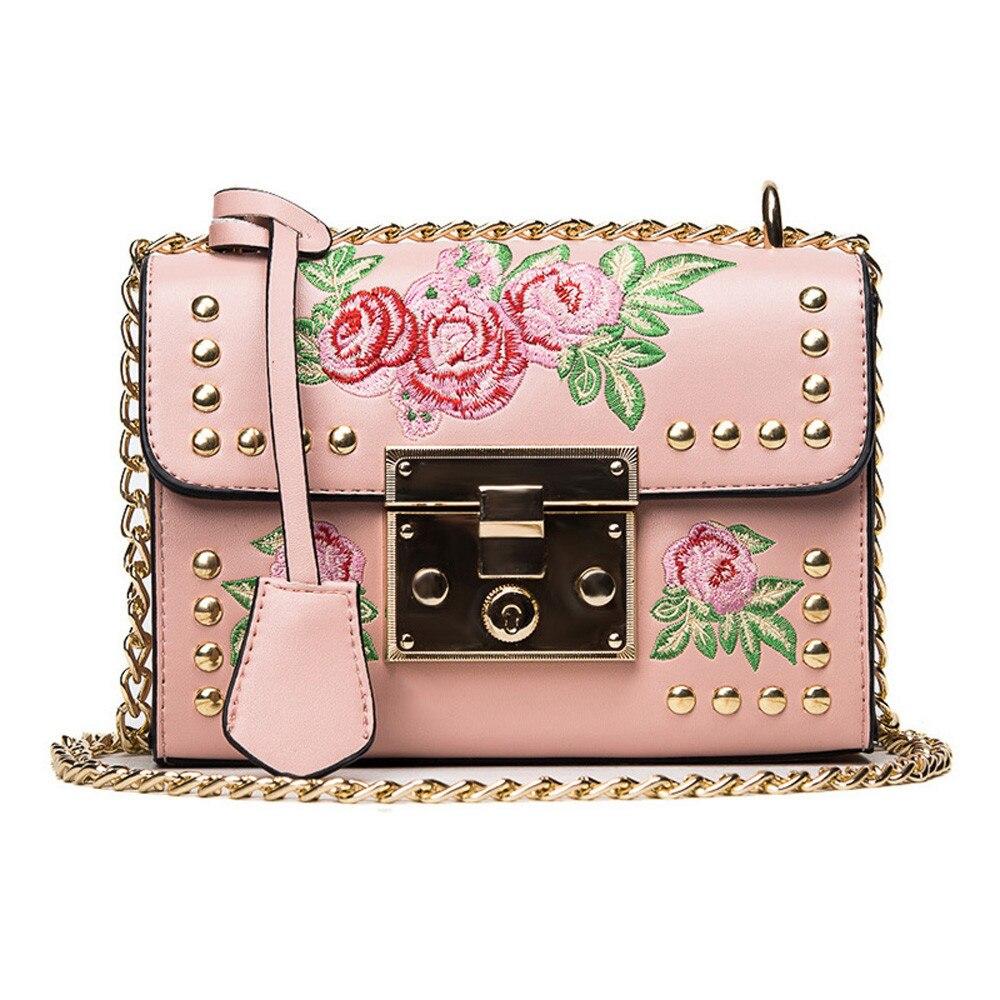 Women Embroidered Flower Flap Bag Fashion Designer PU Leather Chains  Messenger Bag Ladies Small Shoulder Bag 12cf9778f5745