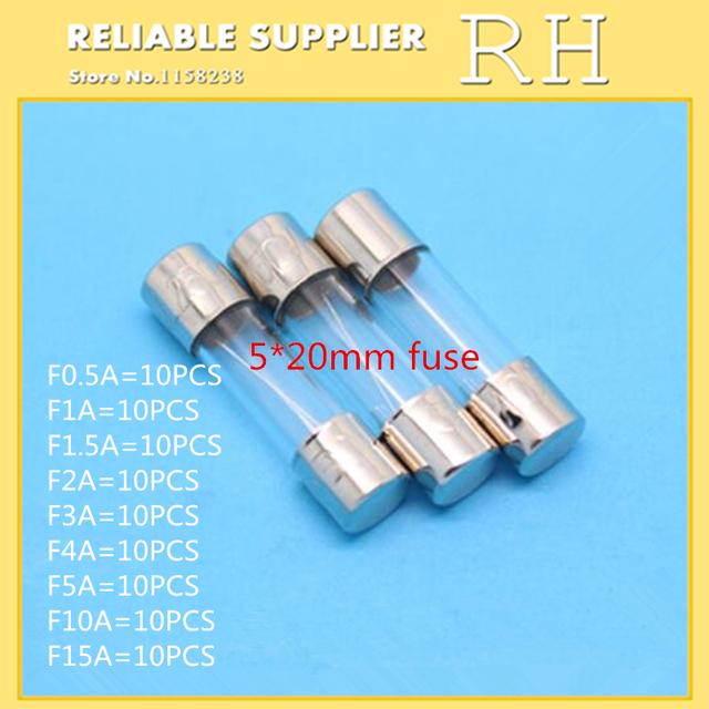 90PCS/lot  5*20MM FUSE 250V F0.5A 1A 1.5A 2A 3A 4A 5A 10A 15A Glass fuse tube Each 10pcs
