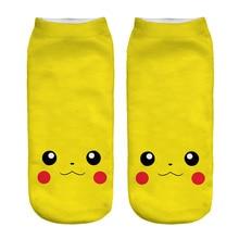 New Arrival Kawaii Harajuku Pokemon Pikachu Socks 3D Printed Cartoon Women's Low Cut Ankle Socks Novelty Casual Socks Meias