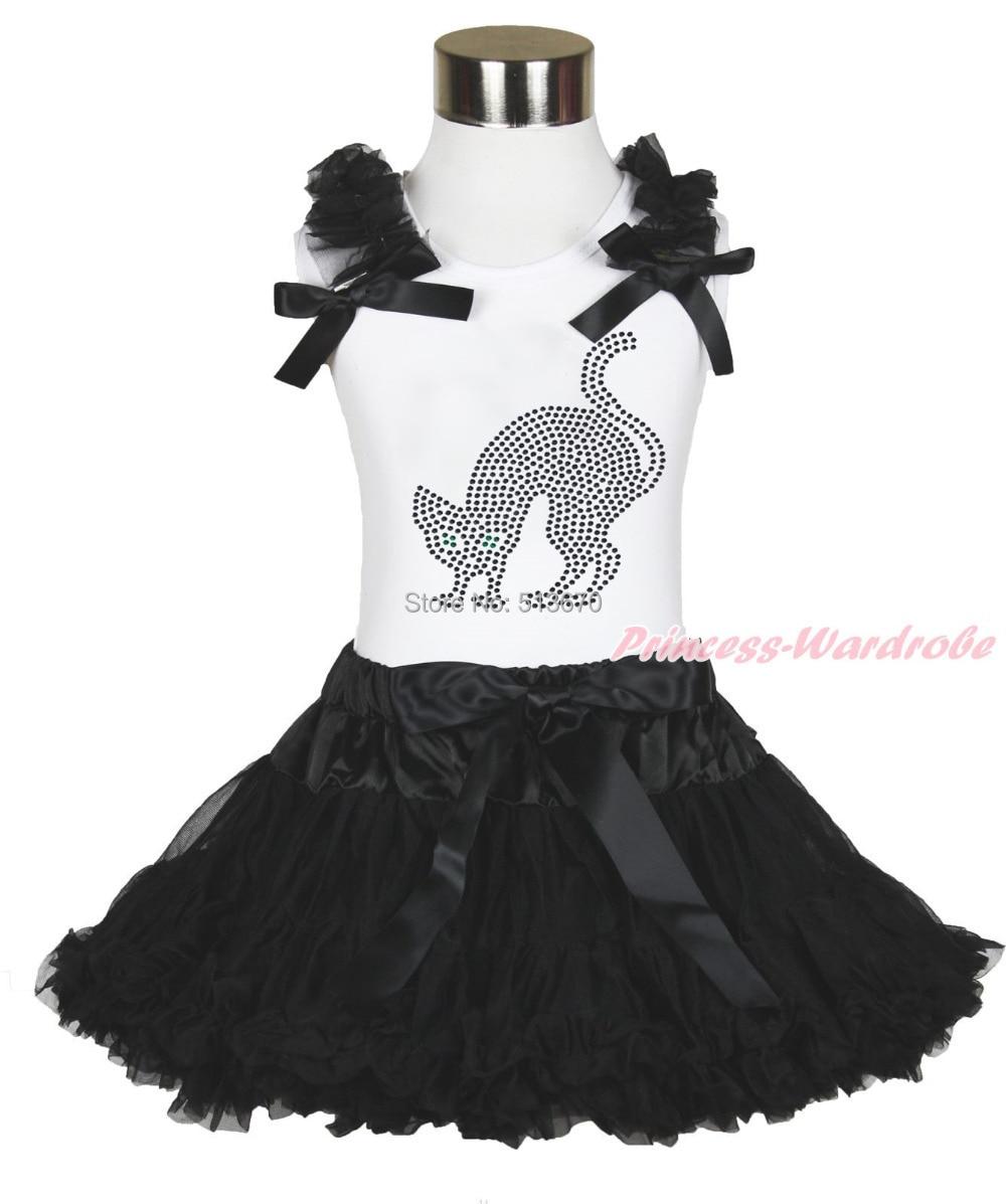 Halloween Party Rhinestone Black Cat White Top Black Pettiskirt Outfit Set 1-8Y MAMG1182 стоимость